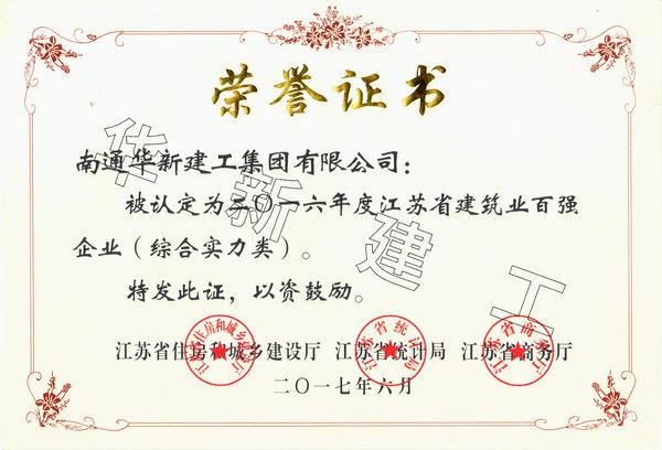 2016年度江苏建筑业百强企业